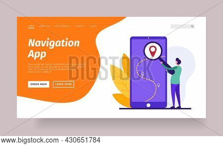 Mobile Application For Navigation. Laying Web Route To Destination. Global Digital Navigation With S