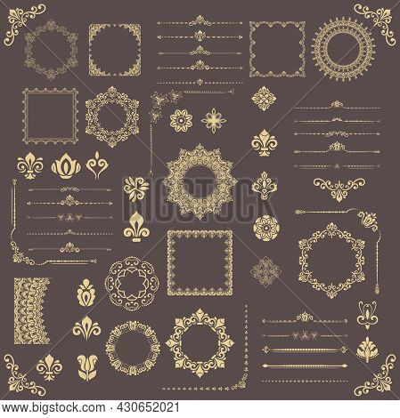 Vintage Set Of Golden Vector Horizontal, Square And Round Elements. Golden Elements For Backgrounds,