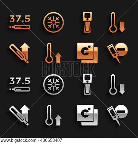 Set Meteorology Thermometer, Digital, Celsius, Medical, And Snowflake Icon. Vector