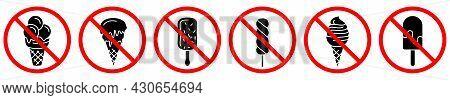 Ice Cream Are Forbidden. Stop Ice Cream Icons. Vector Illustration. No Ice Cream Entry