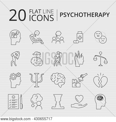 Psychotherapy And Psychology Related Outline Simple Icon Set. Mental Health Concept. Psychologist Co