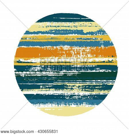 Rough Circle Vector Geometric Shape With Stripes Texture Of Ink Horizontal Lines. Disk Banner With O