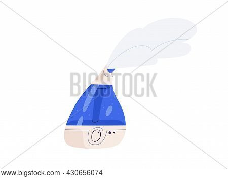 Air Humidifier And Cleaner With Wet Fresh Steam From Electronic Diffuser. Interior Device For Humidi