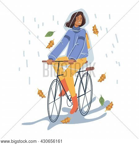 Female Personage Wearing Protective Raincoat Riding Bicycle Under Rain. Rainy Wet Weather In Autumn,