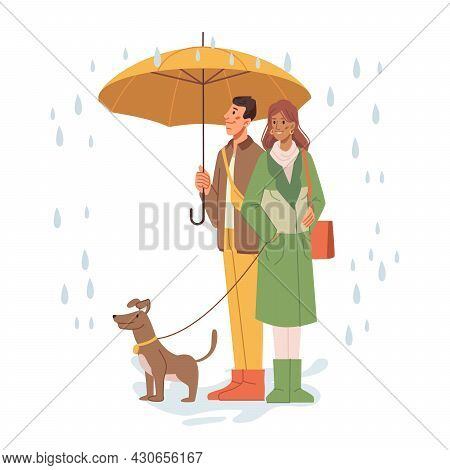 Couple Woman And Man Holding Umbrella And Walking Dog Under Rain. Male And Female Personage With Par