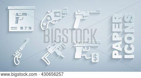 Set Mp9i Submachine Gun, Mauser, Revolver, Buying Pistol, Small Revolver And Military Ammunition Box