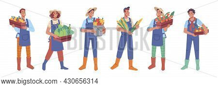 People Keep, Carry Crop In Boxes, Farm Harvest. Vector Farmers With Sweet Pepper, Tomatoes, Apples,
