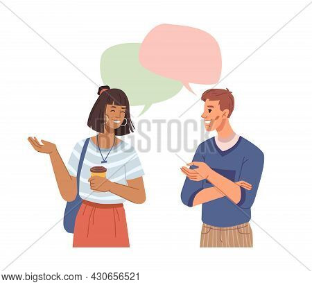 People Communicating And Brainstorming, Chats And Speech Bubbles, Multi Ethnic Characters Communicat