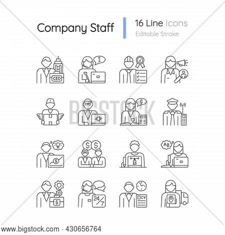 Company Staff Related Rgb Linear Icons Set. Chief Executive Officer. Company Workers Team. Customiza