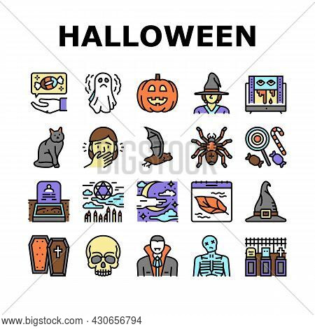 Halloween Autumn Season Holiday Icons Set Vector. Halloween Pumpkin And Scary Skull Decoration, Witc