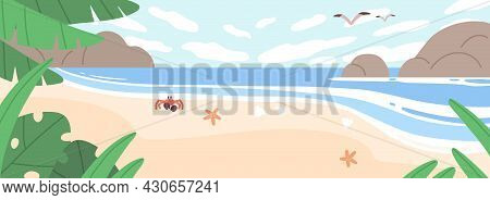 Summer Landscape With Sea Coast, Sand Beach, Sky And Rocks. Horizontal Seascape With Sandy Ocean Sho