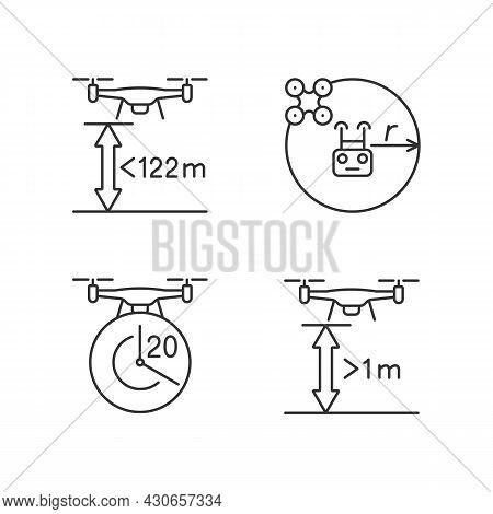 Drone Proper Control Linear Manual Label Icons Set. Altitude Limit. Customizable Thin Line Contour S