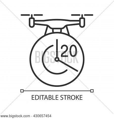 Maximum Flight Time Linear Manual Label Icon. Twenty Minutes Limit. Thin Line Customizable Illustrat