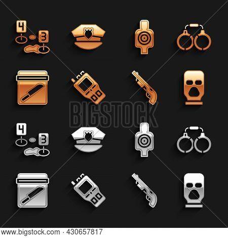 Set Walkie Talkie, Handcuffs, Balaclava, Police Shotgun, Evidence Bag With Knife, Human Target Sport