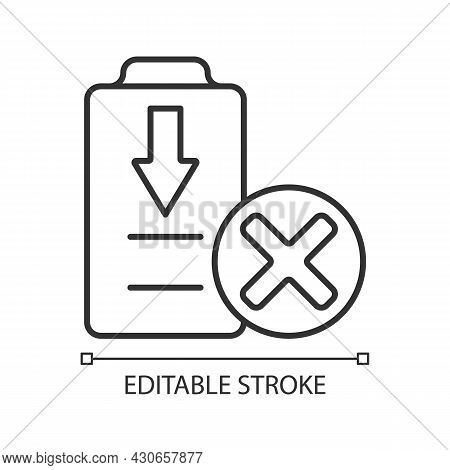 Dont Fully Drain Batteries Linear Manual Label Icon. Damage Risk. Thin Line Customizable Illustratio