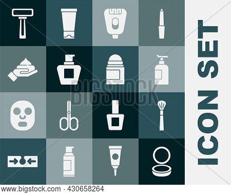Set Makeup Powder With Mirror, Brush, Cream Lotion Cosmetic Tube, Epilator, Shaving Razor And Antipe