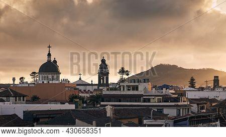 Cityscape San Cristobal De La Laguna At Beautiful Sunset. Tenerife, Canary Islands, Spain.