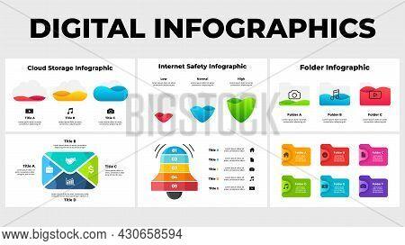 Digital Infographics Collection. Slide Templates Presentation. Internet Technologies Illustration. C