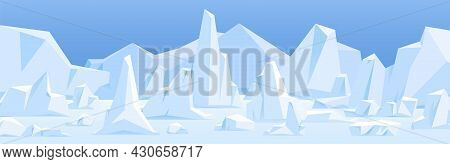 Northern Polar Landscape With Icebergs In Snow. Arctic Ice Bergs, Glaciers At North Pole. Panoramic