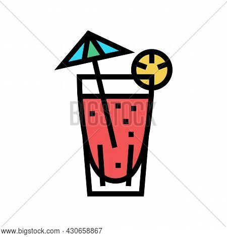 Cocktail Exotic Drink Color Icon Vector. Cocktail Exotic Drink Sign. Isolated Symbol Illustration