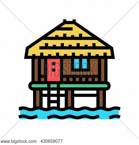 Bungalow Building On Water Color Icon Vector. Bungalow Building On Water Sign. Isolated Symbol Illus