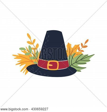 Classic Holiday Composition With Traditional Pilgrim Headdress And Fallen Leaves. Cartoon Flat Icon