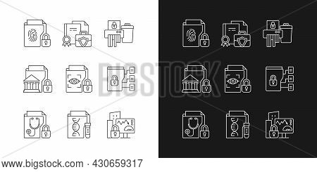 Confidential Information Types Linear Icons Set For Dark And Light Mode. Biometric Data. Paper Shred