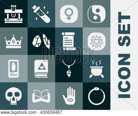 Set Ouroboros, Witch Cauldron, Pentagram In Circle, Venus, Magic Stone, King Crown, Bottle With Poti