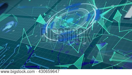 Image of scopes scanning and network of connections over grid. global connections, data processing and digital interface concept digitally generated image.