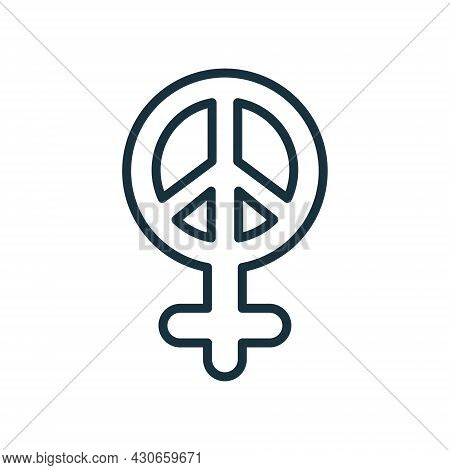 Female Peace Line Icon. Sexism And Feminism Symbol Linear Pictogram. Sign Pacifist Outline Icon. Edi