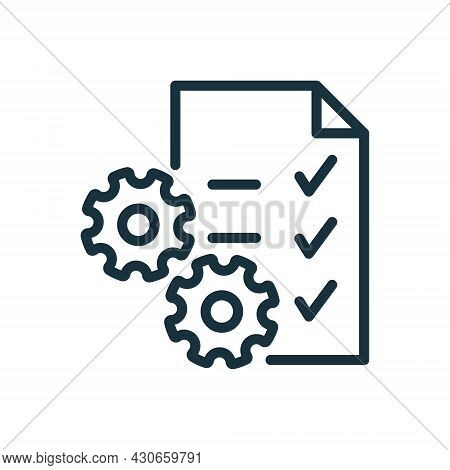 Clipboard Or Checklist And Gear Line Icon. Technical Check List Linear Pictogram. Project Management