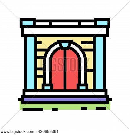 Ancient Gate Color Icon Vector. Ancient Gate Sign. Isolated Symbol Illustration