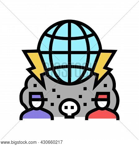 Large Scale Conflict And Wars Social Problem Color Icon Vector. Large Scale Conflict And Wars Social