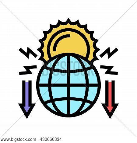 Climate Change And Destruction Of Nature Social Problem Color Icon Vector. Climate Change And Destru