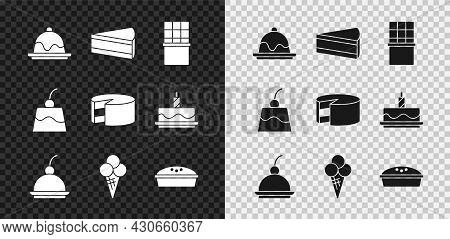 Set Cake, Piece Of Cake, Chocolate Bar, Cherry Cheesecake, Ice Cream In Waffle Cone, Homemade Pie, P