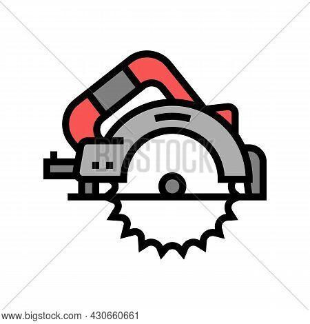 Circular Saw Tool Color Icon Vector. Circular Saw Tool Sign. Isolated Symbol Illustration