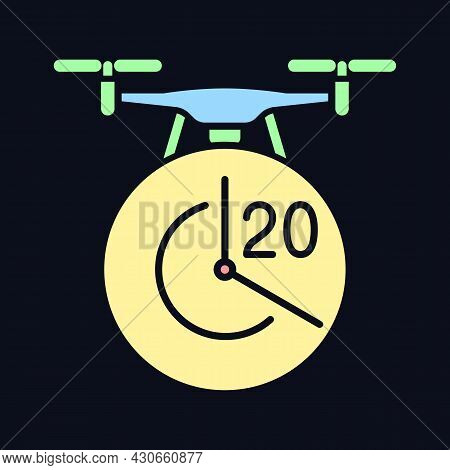 Maximum Flight Time Rgb Color Manual Label Icon For Dark Theme. Flight Duration. Isolated Vector Ill