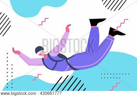 Senior Woman Flying Down During Skydiving Jump Aged Skydiver Floating In Air With Parachute Freefall