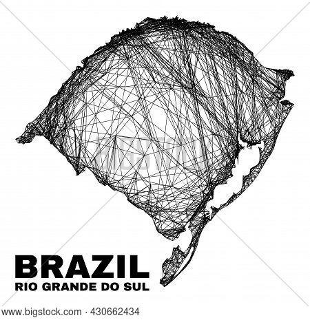 Carcass Irregular Mesh Rio Grande Do Sul State Map. Abstract Lines Are Combined Into Rio Grande Do S