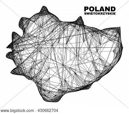 Net Irregular Mesh Swietokrzyskie Voivodeship Map. Abstract Lines Are Combined Into Swietokrzyskie V