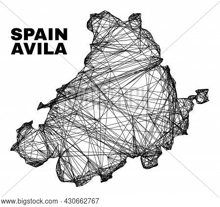 Carcass Irregular Mesh Avila Province Map. Abstract Lines Are Combined Into Avila Province Map. Line
