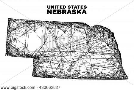 Net Irregular Mesh Nebraska State Map. Abstract Lines Are Combined Into Nebraska State Map. Wire Car