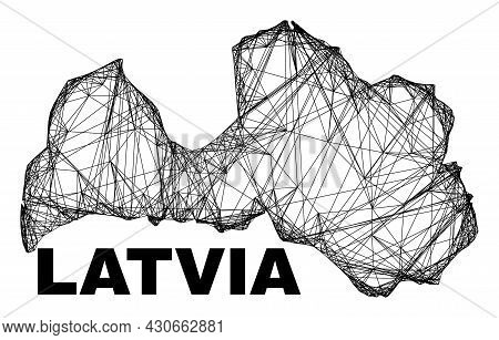 Carcass Irregular Mesh Latvia Map. Abstract Lines Are Combined Into Latvia Map. Wire Carcass Flat Ne
