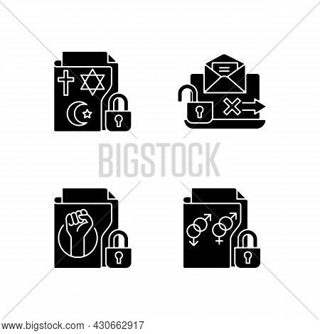 Data Confidentiality Black Glyph Icons Set On White Space. Religious Beliefs Info. Unencrypted Email