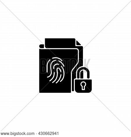 Sensitive Information Protection Black Glyph Icon. Prevent Unauthorized Access. Cybersecurity Measur