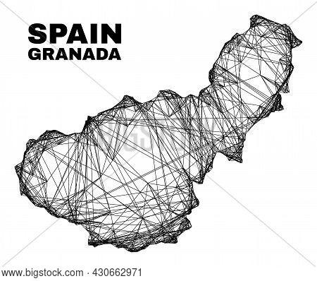 Wire Frame Irregular Mesh Granada Province Map. Abstract Lines Form Granada Province Map. Wire Frame