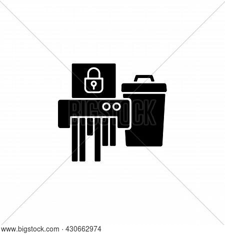 Sensitive Information Disposal Black Glyph Icon. Confidential Waste. Accidental Disclosure Preventio