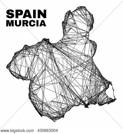 Wire Frame Irregular Mesh Murcia Province Map. Abstract Lines Are Combined Into Murcia Province Map.