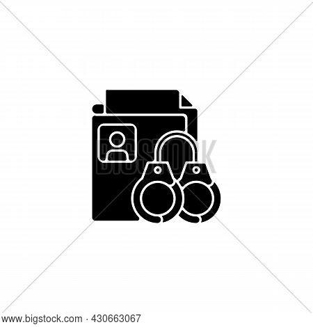 Sealing Criminal Records Black Glyph Icon. Sensitive Data. Respect For Private Life. Criminal Backgr