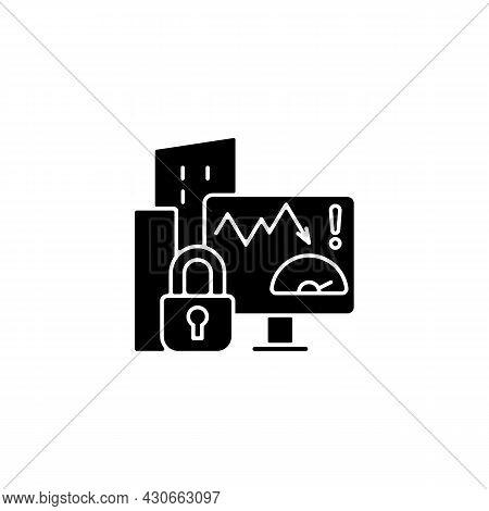 Company Risk Scoring Privacy Black Glyph Icon. Analyzing Factors. Risky User Behavior Prevention. Ef